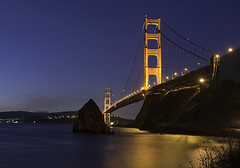 Golden Gate from Ft Baker (dcnelson1898) Tags: sanfrancisco california longexposure nightphotography morning bridge reflection lights highway1 pacificocean goldengatebridge marincounty sanfranciscobay highway101 fortbaker