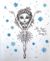 Snowflake Girl (Enchanted Fields) Tags: snowflake christmas winter holiday snow illustration sketch ballerina december surrealism dancer prismacolor graceful graphite enchanted whimsical pencildrawing inkart