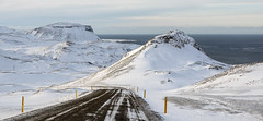 Let's chance the high road (lunaryuna) Tags: road winter panorama sunlight snow mountains ice season landscape coast iceland mood ngc lunaryuna wintersun northatlantic snaefellsnes westiceland snaefellsnespenninsula seasonalwonders