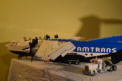 30 - White Semi & C-4 Cargo Aircraft (Buff83ST) Tags: city west scale wheel america truck out nose layout coast town us airport cabin ramp long flat lego cab aircraft aviation military united transport style cargo semi camion american hauling airbus hood states boeing minifig titan heavy lockheed load freight loads trucking transporter sleeper loading fifth freighter alliance haul c4 amercian minifigure lkw antonov hauler cabover ilyushin flatnose schwertransport sattelschlepper auflieger sattelauflieger sattelzug 40tonner amtrans rmorque vierzigtonner