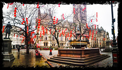 Lantern Tree (theGR0WLER) Tags: old uk trees light red england tree brick clock monument water fountain statue mobile stone bench square manchester lights monkey town hall branch phone branches albert gothic chinese vivid chinesenewyear newyear lg lanterns townhall g3 albertsquare yearofthemonkey