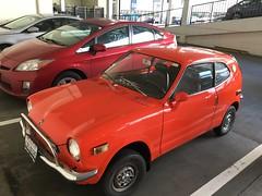 Small Shiny Red Honda, Must be Vintage (Lynn Friedman) Tags: sanfrancisco red honda parking small 94103 lynnfriedman