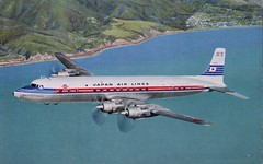 Dc-7C Super Courier, Japan Air Lines (SwellMap) Tags: architecture plane vintage advertising design pc airport 60s fifties aviation postcard jet suburbia style kitsch retro nostalgia chrome americana 50s roadside googie populuxe sixties babyboomer consumer coldwar midcentury spaceage jetset jetage atomicage