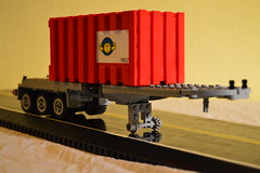 39 - 3-Axle Container Trailer (Buff83ST) Tags: city west scale wheel truck out nose layout coast town us cabin long flat lego cab united style semi american hood states minifig heavy load loads sleeper fifth minifigure cabover flatnose