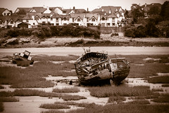 Boat wreck (technodean2000) Tags: uk blackandwhite white black wales island boat nikon ship outdoor south barry wreck lightroom d610