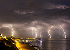Lightning over Bournemouth (Nick L) Tags: lightning poolebay dorset uk canon2470li canon2470l 2470 2470l canon5d3 canon 5d3 5d pier clouds storm therebeastormabrewin eos beach thunderstorm bournemouthbeach seaside