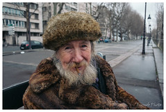 Portrait, Paris, France (Bigmob Dontwannastop) Tags: road street old city winter portrait urban man paris france cold leather fur