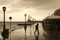 ... (Theophilos) Tags: sea lighthouse rain crete lampposts chania
