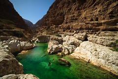 Wadi Shab, Oman, 2016 (marc_guitard) Tags: travel blue two people tourism water swimming swim river landscape desert turquoise tourist canyon east arabia destination arabian traveling middle peninsula oman refreshing wadi shab