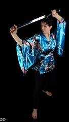 Portrait (korodi2) Tags: blue red portrait bw white black flower beauty umbrella dark low sword lowkey japenese