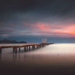 Calm V ( MaNurs) Tags: wood old longexposure trip travel sunset summer espaa holiday seascape muro beach beautiful clouds sunrise canon atardecer pier muelle nice spain sand sunny playa paisaje calm traveller amanecer nubes embarcadero es mallorca viejo calma minimalist goldenhour haida waterscape alcudia minimalista illesbalears 70d neutraldensity largaexposion nd1000 10stops densidadneutra tokina1116 manurs