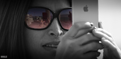 I See What You See.. (Mark Holt Photography - 4 Million Views (Thanks)) Tags: bw sunglasses liverpool reflections shades pierhead takingpictures iphone colourseperation