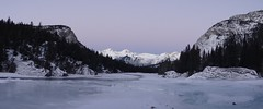 Frozen Bow river Banff. Late in the afternoon the sky was changing colour from blue to purple. Breathtaking. (mj.aalbrecht) Tags: canada river frozen view banff colourchanging