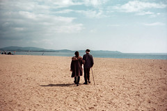 (Anne-Sophie Landou) Tags: shadow sea people france love film beach analog landscape back moody walk candid contax cinematic hyres