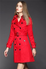 Red Trench Coat (betrenchcoated) Tags: red sexy beautiful buttons trench trenchcoat raincoat beautifulgirl doublebreasted