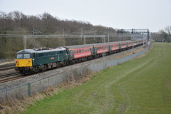 87002 Slindon 12/03/2016 (Brad Joyce 37) Tags: blue red heritage electric rural train grey countryside football cloudy overcast loco virgin mk2 staffordshire charter facup chelseafc virgintrains slindon class87 87002 1z87