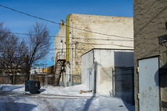 Behind Main Street (bryanscott) Tags: ca winter snow canada building architecture alley winnipeg manitoba northend backlane