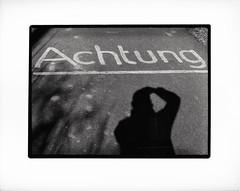 Selfie auf Deutsch (georgsfoto) Tags: blackandwhite bw film monochrome analog 1film halfframe expired schwarzweiss selbstportrait rostock heimat 18x24 selfie 1stroll shotonfilm ilforddelta100 olympuspenft xtol12 developedin printedinthedarkroom 20160317olypenft17a zuikos4014 printedonoldmgivrc dirtyflatbedscan