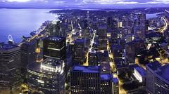 Seattle Blues (Malek Qafisheh) Tags: seattle city urban skyline architecture night skyscraper lights evening washinton