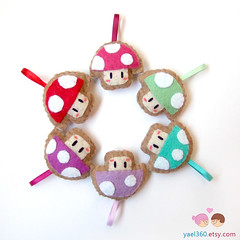 Mushroom key chain, Super Mario mushroom keychain kawaii plush plushie, bag charm (yael555) Tags: mushroom up bag 1 keychain key geek nintendo super mario felt charm chain ornament gift kawaii bros keychains lanyards