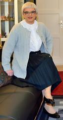 Ingrid021627 (ibach411) Tags: skirt blouse mature button cardigan pleated strickjacke ruffled faltenrock rschenbluse durchgeknpft