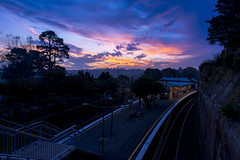 At Journey's End (w.GabrieL) Tags: blue sunset urban station night train nightscape hour urbanscape leura
