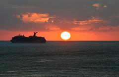 Touch of the sun (kuytu) Tags: cruise sunset red sea orange cloud sun seascape water silhouette skyline clouds ship horizon touch down round deniz cloudscape ufuk manzara gnbatm gne