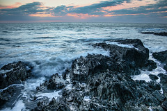 Surge (Safarii) Tags: longexposure light sunset sea sky sun seascape motion wet water rock evening coast rocks waves wave devon jagged woolacombe