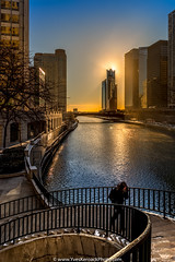 Good morning Chicago! (Yves Kéroack) Tags: city winter chicago sunrise skyscrapers riverside hiver ville leverdusoleil gratteciels