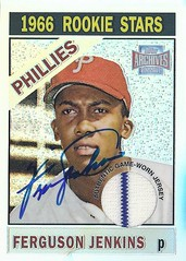 """2001 Topps Archives Reserve Rookie Reprint Relics / Game Worn Jersey - Ferguson """"Fergie"""" Jenkins #ARR5 (Pitcher) (Hall of Fame 1991) - Autographed Baseball Card (Philadelphia Phillies) (Baseball Autographs Football Coins) Tags: auto canada sign vintage cards baseball graf graph canadian autograph jersey halloffame texasrangers relics chicagocubs bostonredsox hof signed mlb philadelphiaphillies harlemglobetrotters reprint gamewornjersey chathamontario canadianbaseballhalloffame cbhof fergiejenkins fergusonjenkins 2001toppsarchives reserverookie 2001toppsarchivesreserverookiereprintrelics"""