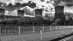 safeguarding the giants - HFF! (lunaryuna) Tags: uk england bw monochrome fence blackwhite shropshire ironbridge giants modernlife lunaryuna powerstation cloudscape coolingtowers hff fencefriday fencingoff