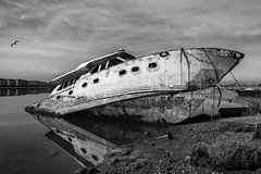 landlocked. (stevenbley) Tags: blackandwhite bw monochrome boat newjersey ship hurricane nj meadowlands swamps carlstadt hurricanesandy