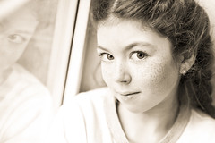 Kid (riflylv) Tags: portrait window girl monochrome beautiful smile sepia ginger kid cool eyes quiet silent awesome lisa indoor mona simple rpfoto