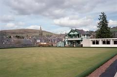 Galashiels Bowling Club (David_Leicafan) Tags: green film lawn spire pavillion artsandcrafts bowlingclub galashiels leicam42 35mmsummaronf28