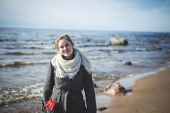 Sun and Waves (Niks Freimanis) Tags: sea portrait girl beautiful canon waves sunny baltic latvia blonde zenit 58mm matte helios 6d portrets 444 meitene latvija jra dunte