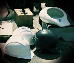 MQP_1054 (Pity Bimbos) Tags: hats fleamarket urinals helmets