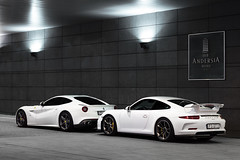 White Crew. (Slav_Shot) Tags: auto white cars hotel italian 911 poland automotive super ferrari exotic crew german porsche bianco combo f12 991 gt3 poznan berlinetta 2016 andersia whitecrew slavshot