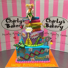 2-tier Mad Scientist themed 8th birthday cake (Charly's Bakery) Tags: charlys charlysbakery charliesbakery muckingafazing wickedchocolate noveltycake customcake cakecapetown birthdaycakecapetown bakerycapetown science periodictable explosion scientific beaker testtube dna dissected frog books