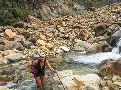 I'm a river fording queen! (ma vie en rouge) Tags: newzealand river rocks backpacking marlborough bloodymary fording thruhike riverford wetfeet ashleyhill teararoa mountrichmondforestpark hyperlitemountaingear