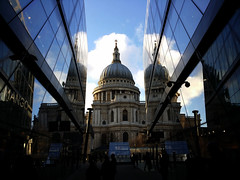 One New Change Reflections (Feggy Art) Tags: new winter sun sunlight london church glass abbey st clouds one mirror cathedral christopher panes pauls spire dome change wren