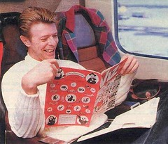David Bowie reading a comic book (Michael Vance1) Tags: england music train comics singer comicbooks rockandroll cartoonist muscian