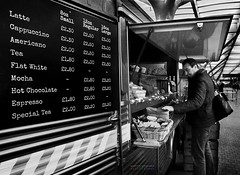 name your poison (gregoryphoto150) Tags: travel blackandwhite bw london coffee monochrome station sign cafe trading commute commuter paddington commuting van trader