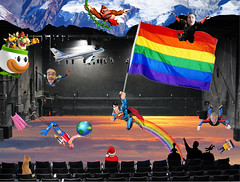 Catch Photo #30K (gaymay) Tags: california santa gay sky mountain snow love cat airplane happy james robot flying rainbow globe kitten bowser dress desert stage flag jerry palmsprings mario superman tophat airforceone donkeykong rainbowflag skydiver auditorium jetpack triad supergay darek trapezeartist mysterysciencetheater3000 peecup catchphoto