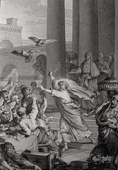Christ's earthly ministry in the Phillip Medhurst Bible 255 of 550 Jesus drives the traders out of the temple Luke 9:45-46 French School (Phillip Medhurst Bible Images) Tags: jesus christ jesuschrist ministry bible print christian newtestament phillipmedhurst phillipmedhurstbible phillipmedhurstcollection temple jerusalem moneychanger cleanse gentile commerce
