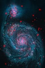 Colorized Supermassive Black Hole (sjrankin) Tags: edited nasa colorized xray m51 merge chandra collision interacting whirlpoolgalaxy supermassiveblackhole chandraspacetelescope 5january2016