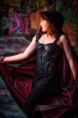 Stephanie S Second Solo 5-14 (Jonathan Frings) Tags: leather model redhead topless cape backdrop