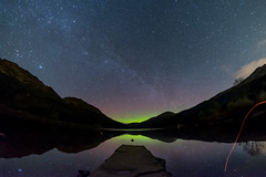Loch Eck and the aurora (Strength) Tags: longexposure camping lake water night stars scotland argyll jetty calm fisheye hills aurora loch northernlights auroraborealis eck milkyway cowal locheck