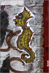 East End Street Art (Mabacam) Tags: streetart london pasteup wall graffiti seahorse paste wallart urbanart shoreditch freehand publicart creature eastend seacreature wheatpasting 2016 urbanwall lennymassive