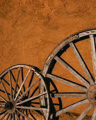 Spare Tire (Brian Truono Photography) Tags: newmexico history wheel wall wagon us wooden rust ruins unitedstates post mud nps fort military historic civilwar adobe depot walls nationalparkservice federal nationalmonument frontier corral santafetrail fortunion watrous