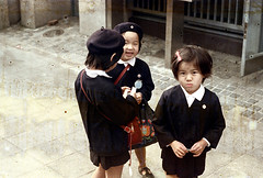 30-557 (ndpa / s. lundeen, archivist) Tags: city winter girls people color fall film girl hat japan 30 kids 35mm children japanese kyoto uniform child candid nick citylife hats streetphotography streetlife spots uniforms schoolchildren 1970s schoolkids damaged beret 1972 distressed younggirl dewolf localpeople berets honshu younggirls discolored heatdamage damagednegative nickdewolf photographbynickdewolf reel30